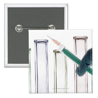 Scientist Holding Syringe Pinback Button