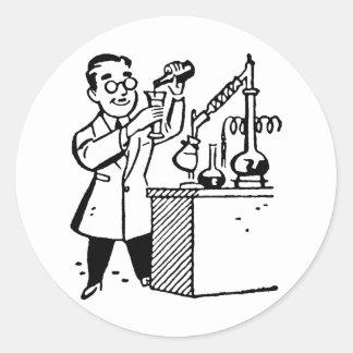 Scientist in Lab Coat Mixing Chemicals Classic Round Sticker