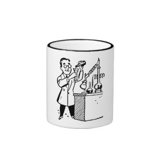 Scientist in Lab Coat Mixing Chemicals Coffee Mugs