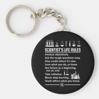 Scientist Life Rules Never Stop Learn Keychain