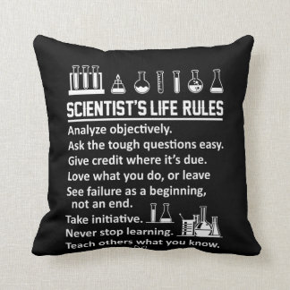 Scientist Life Rules Never Stop Learn Throw Pillow
