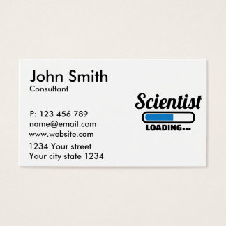 Scientist loading business card