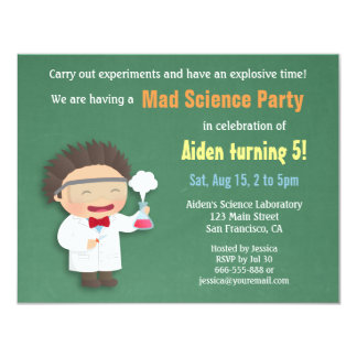 Scientist Mad Science Birthday Party Invitations
