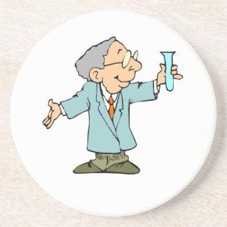 Scientist Nerd in Lab Coat With Test Tupe Coaster