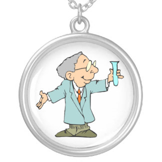 Scientist Nerd in Lab Coat With Test Tupe Silver Plated Necklace