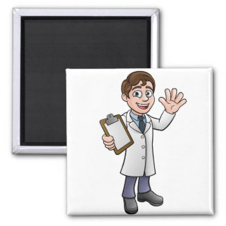 Scientist or Lab Technician Cartoon Character Magnet