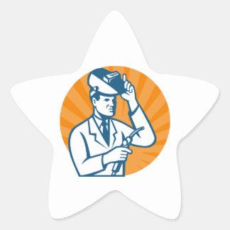 Scientist Researcher With Welding Torch Welder Vis Star Sticker