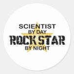 Scientist Rock Star by Night Round Sticker
