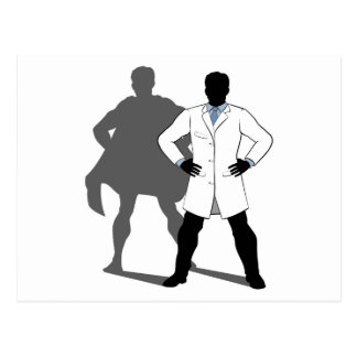 Scientist Super Hero Silhouette Postcard