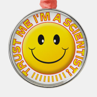 Scientist Trust Me Smiley Silver-Colored Round Decoration