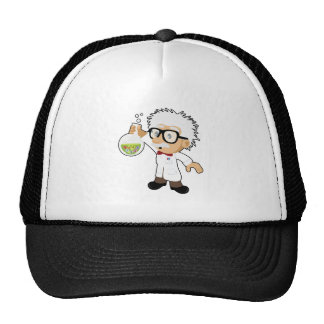 Scientist with beaker mesh hats