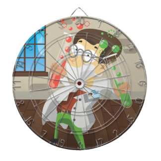 Scientist With Test tubes Dartboard With Darts