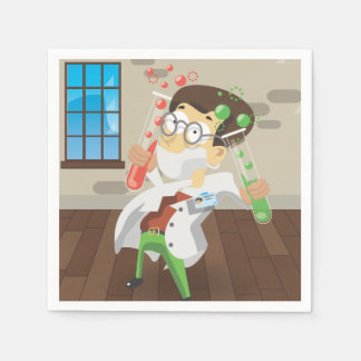 Scientist With Test Tubes Paper Napkin