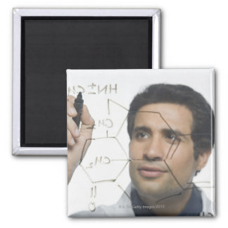 Scientist writing chemical formula 2 2 inch square magnet