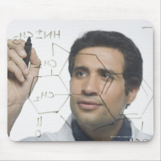 Scientist writing chemical formula 2 mouse pad