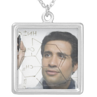 Scientist writing chemical formula 2 square pendant necklace