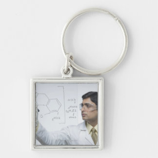 Scientist writing chemical formula Silver-Colored square keychain