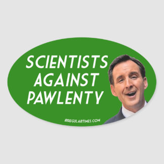 Scientists Against Pawlenty oval stickers
