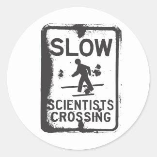 Scientists Crossing Classic Round Sticker