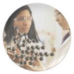 Scientists examining molecular model dinner plates