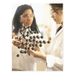 Scientists examining molecular model postcard