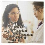Scientists examining molecular model tiles