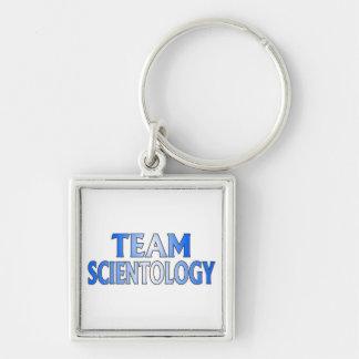 Scientology del equipo llavero cuadrado plateado