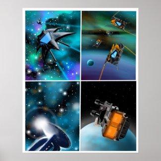 """Scifi Across the Galaxy"" Art Poster by MV"