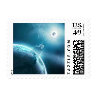 Scifi Astronaut in Orbit Space Stamp