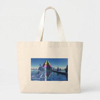 Scifi city tote bags