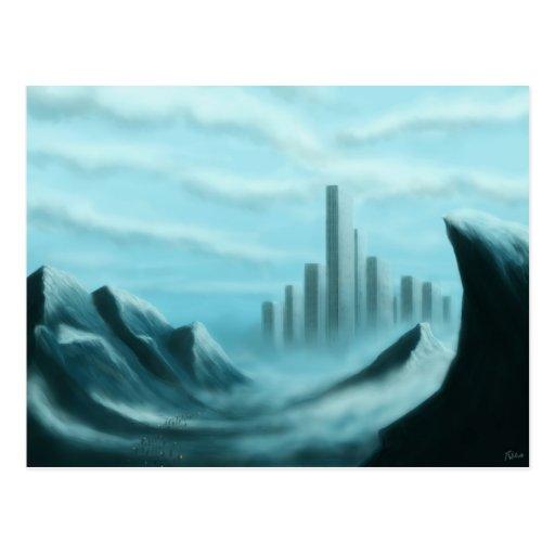 scifi del iceworld/postal del arte de la fantasía