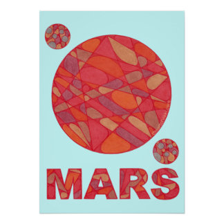 "SciFi Geek Mars Red Planet Art 20"" x 28"" Print"