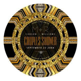 SciFi Glamour Art Deco Couples Shower Round Invite