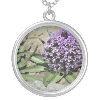 Scilla. Pretty purple flower. Round Pendant Necklace