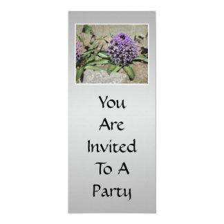 Scilla. Purple flower in a garden. On Gray. Card