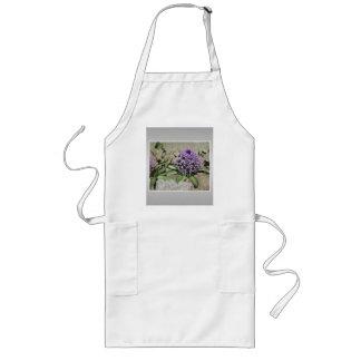 Scilla. Purple flower in a garden. On Gray. Long Apron
