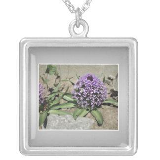 Scilla. Purple flower in a garden. On Gray. Square Pendant Necklace