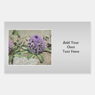 Scilla. Purple flower in a garden. On Gray. Rectangular Sticker