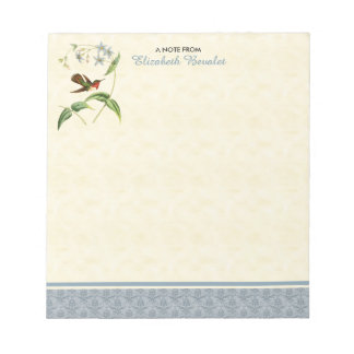 Scintillant Hummingbird Blue Damask Note Pad