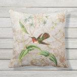 Scintillant Hummingbird Vintage Grunge Pillow
