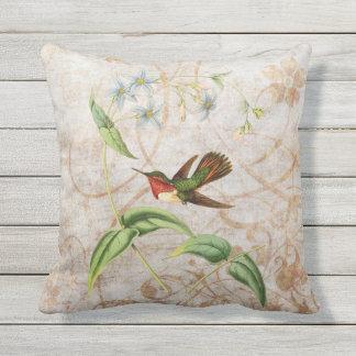 Scintillant Hummingbird Vintage Grunge Throw Pillow
