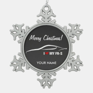 """Scion FR-S """"I love my FR-S"""" Personalized Snowflake Pewter Christmas Ornament"""