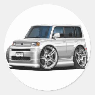 Scion XB White Car Classic Round Sticker
