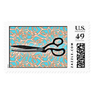 Scissor el arte timbres postales