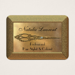 Scissor Hairstylist Royale Business Card at Zazzle