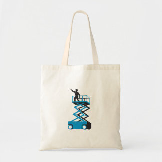 Scissor Lift Worker Pointing Retro Tote Bag