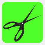 Scissor los esquileos de las tijeras - responsable calcomania cuadradas personalizada