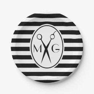 Scissor Monogram Initials Hair Stylist Barber Shop Paper Plate