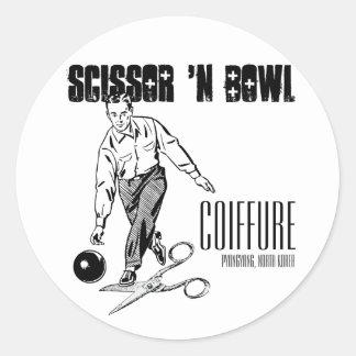 Scissor 'N Bowl Coiffure, NoKo Classic Round Sticker