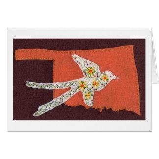 Scissor-tailed Flycatcher on a Orange Oklahoma Card